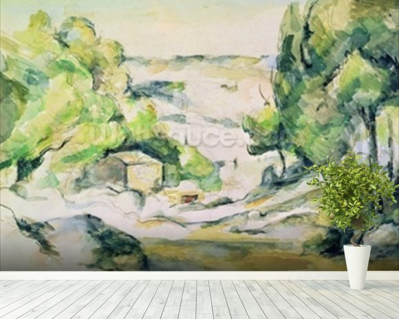 Countryside in Provence (w/c on paper) wallpaper mural room setting