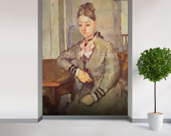 Madame Cezanne Leaning on a Table, 1873-77 (oil on canvas) mural wallpaper room setting