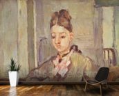 Madame Cezanne Leaning on a Table, 1873-77 (oil on canvas) mural wallpaper kitchen preview