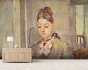 Madame Cezanne Leaning on a Table, 1873-77 (oil on canvas) mural wallpaper living room preview