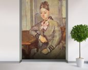 Madame Cezanne Leaning on a Table, 1873-77 (oil on canvas) mural wallpaper in-room view