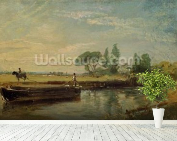 A Barge below Flatford Lock, c.1810 (oil on canvas) mural wallpaper room setting