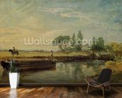 A Barge below Flatford Lock, c.1810 (oil on canvas) mural wallpaper kitchen preview