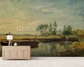 A Barge below Flatford Lock, c.1810 (oil on canvas) mural wallpaper living room preview