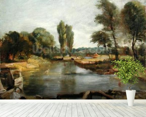 Flatford Lock, 1810-11 (oil on paper on canvas) wall mural room setting