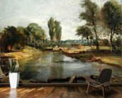 Flatford Lock, 1810-11 (oil on paper on canvas) wall mural kitchen preview