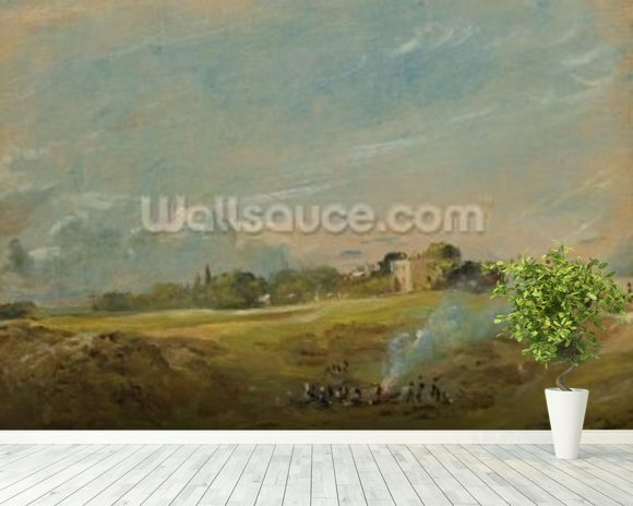 A View of Hampstead Heath, with figures round a bonfire (oil on canvas) wallpaper mural room setting