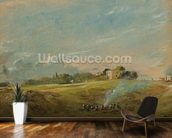 A View of Hampstead Heath, with figures round a bonfire (oil on canvas) wallpaper mural kitchen preview