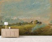 A View of Hampstead Heath, with figures round a bonfire (oil on canvas) wallpaper mural living room preview