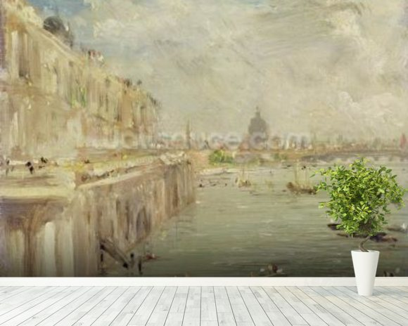 View of Somerset House Terrace and St. Pauls, from the North end of Waterloo Bridge (oil on panel) mural wallpaper room setting