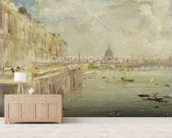 View of Somerset House Terrace and St. Pauls, from the North end of Waterloo Bridge (oil on panel) mural wallpaper living room preview