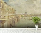 View of Somerset House Terrace and St. Pauls, from the North end of Waterloo Bridge (oil on panel) mural wallpaper in-room view