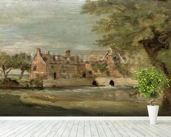 Flatford Mill (oil on panel) mural wallpaper room setting
