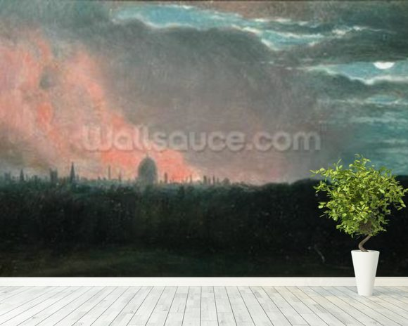 Fire in London seen from Hampstead (oil on paper laid on panel) wall mural room setting