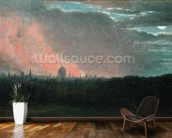 Fire in London seen from Hampstead (oil on paper laid on panel) wall mural kitchen preview