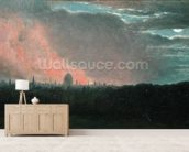 Fire in London seen from Hampstead (oil on paper laid on panel) wall mural living room preview