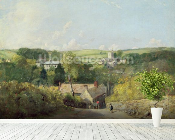 A View of Osmington Village with the Church and Vicarage, 1816 (oil on canvas) mural wallpaper room setting