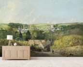 A View of Osmington Village with the Church and Vicarage, 1816 (oil on canvas) mural wallpaper living room preview