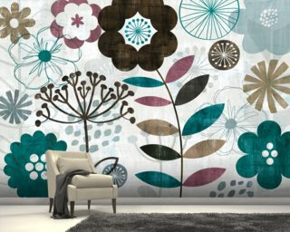 Floral Pop Turquoise mural wallpaper