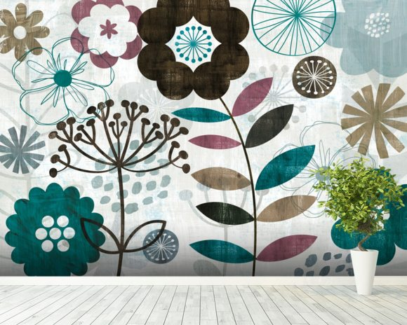Floral Pop Turquoise mural wallpaper room setting