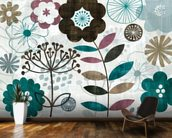 Floral Pop Turquoise mural wallpaper kitchen preview