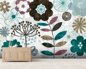 Floral Pop Turquoise mural wallpaper living room preview