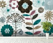 Floral Pop Turquoise mural wallpaper in-room view