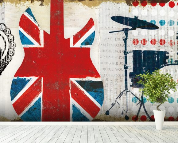 British Invasion II mural wallpaper room setting