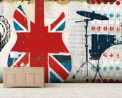 British Invasion II mural wallpaper living room preview