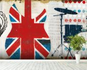 British Invasion II mural wallpaper in-room view