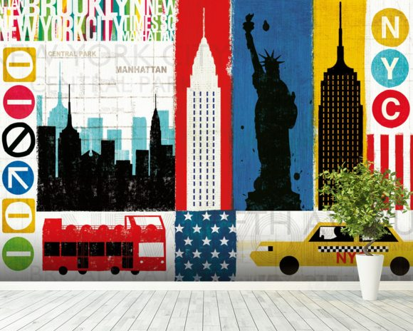 New York City Experience mural wallpaper room setting