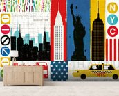 New York City Experience mural wallpaper living room preview