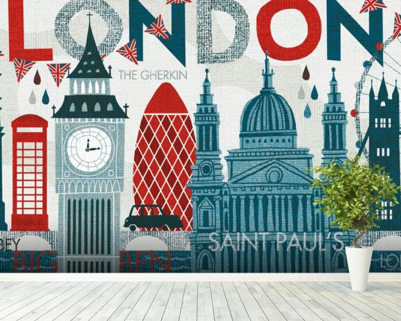 Hello London wall mural room setting