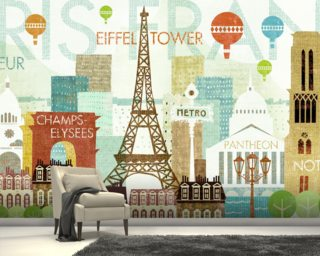 Hello Paris mural wallpaper