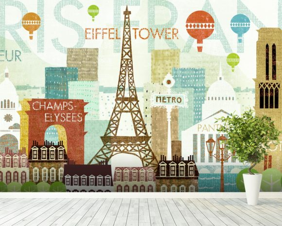 Hello Paris Wall Mural Hello Paris Wallpaper Wallsauce USA