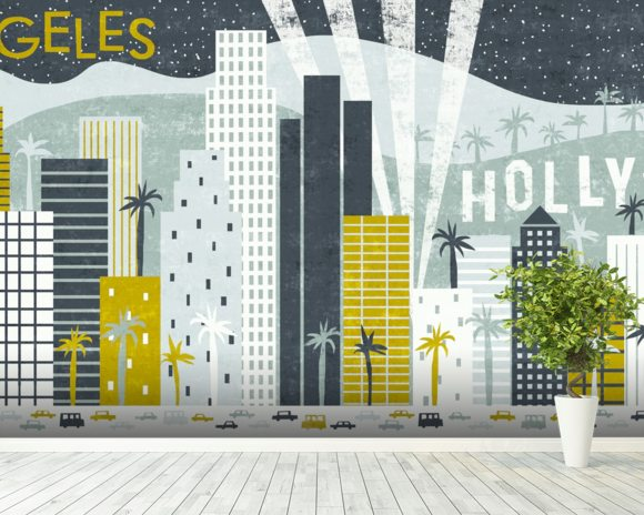 Hey Los Angeles wallpaper mural room setting