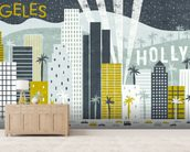 Hey Los Angeles wallpaper mural living room preview