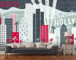 Hey Los Angeles Red mural wallpaper