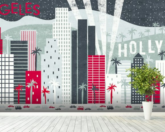 Hey Los Angeles Red mural wallpaper room setting
