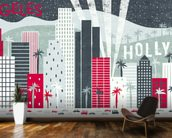 Hey Los Angeles Red mural wallpaper kitchen preview