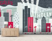 Hey Los Angeles Red mural wallpaper living room preview