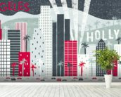 Hey Los Angeles Red mural wallpaper in-room view