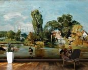 Flatford Mill, c.1810-11 (oil on panel) mural wallpaper kitchen preview