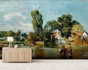 Flatford Mill, c.1810-11 (oil on panel) mural wallpaper living room preview