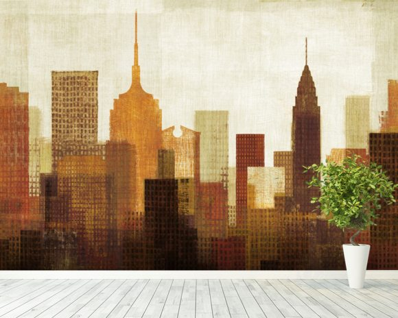 Summer in the City I wall mural room setting