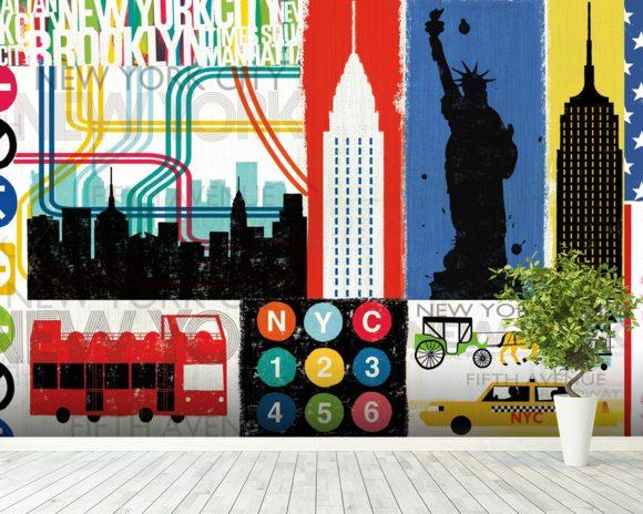 New york city life iv wall mural new york city life iv for New york mural wallpaper