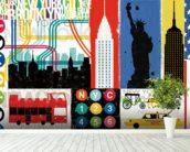 New York City Life IV mural wallpaper in-room view