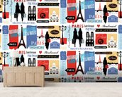 Paris Life Pattern wall mural living room preview
