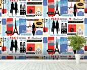 Paris Life Pattern wall mural in-room view