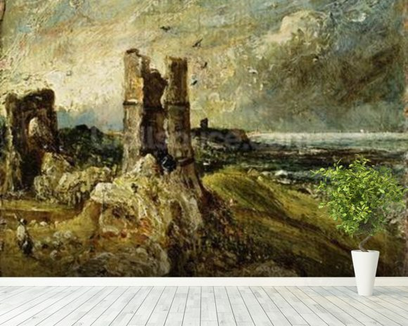 Sketch of Hadleigh Castle (recto) (oil on millboard) wall mural room setting